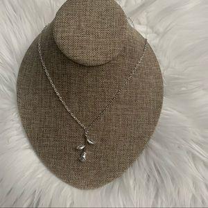 NIP Rose & stem silver tone necklace